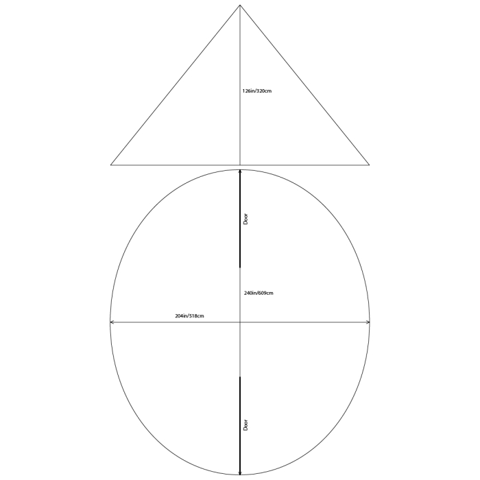 12 Man Tipi Dimensions with simple Diagram
