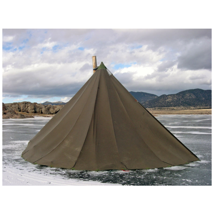 16 Man Tipi on Top of Ice while on a fishing trip