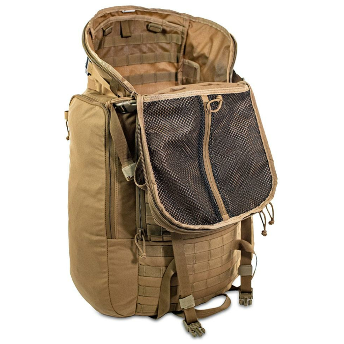 44 Mag (4,400 ci - 72 L Bag only) Diagonal Photo of Coyote Brown Color with Main Zipper Open and Inside Visible