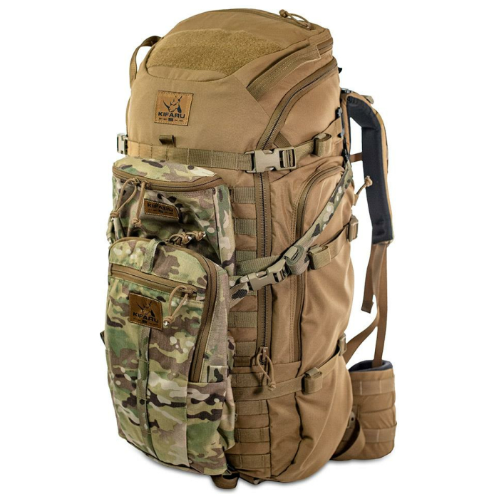 44 Mag (4,400 ci - 72 L Bag only) Frontal Photo of Coyote Brown Color with One Medium Multicam Bag in Front