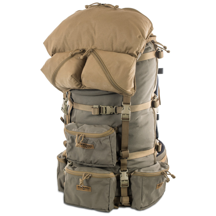 Cavern (6,500ci - 106L Bag only) Diagonal Front Photo of Ranger Green Color Fully Packed with Additional Smaller Bags