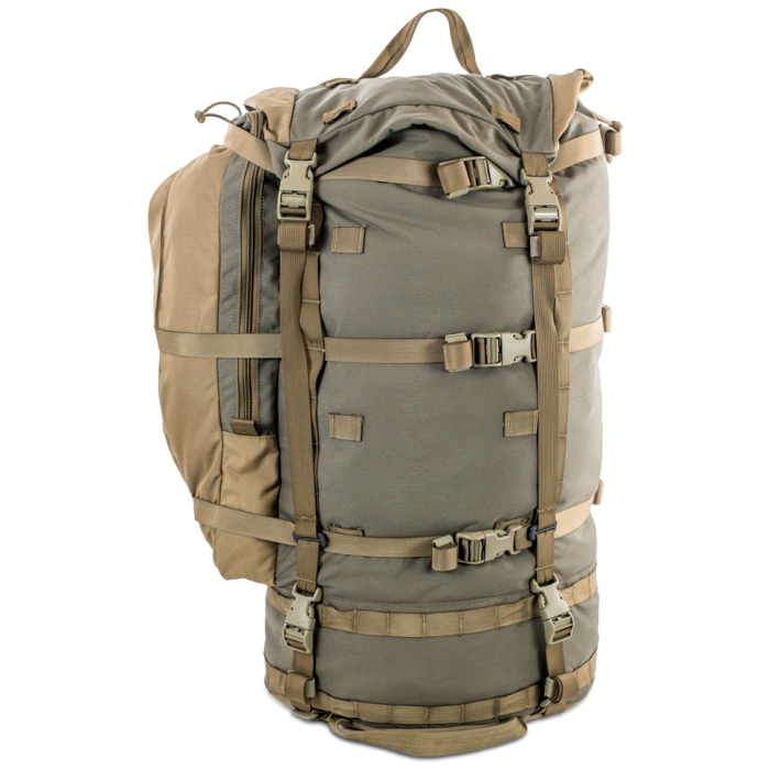 Cavern (6,500ci - 106L Bag only) Frontal Photo of Ranger Green Color with Pack Attached to the Side