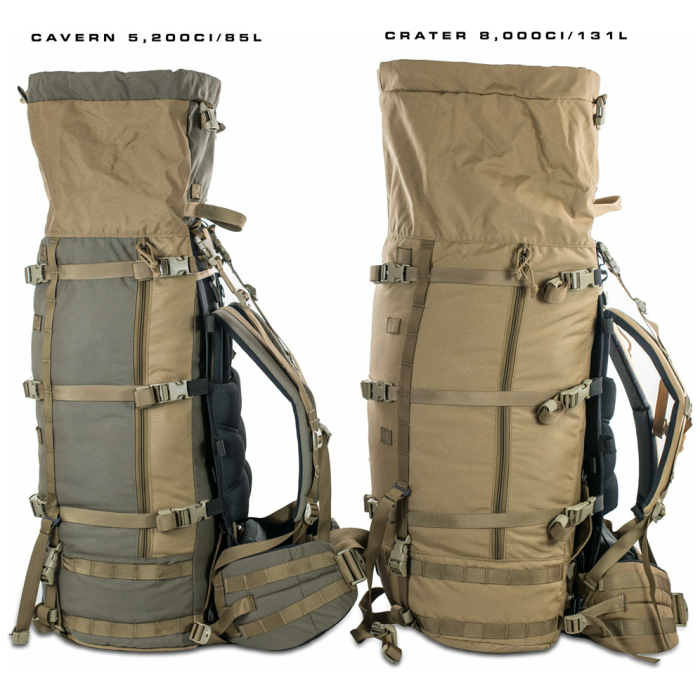 Cavern (6,500ci - 106L Bag only) Side Photo of Ranger Green Color Comparison with Coyote Brown of Crater