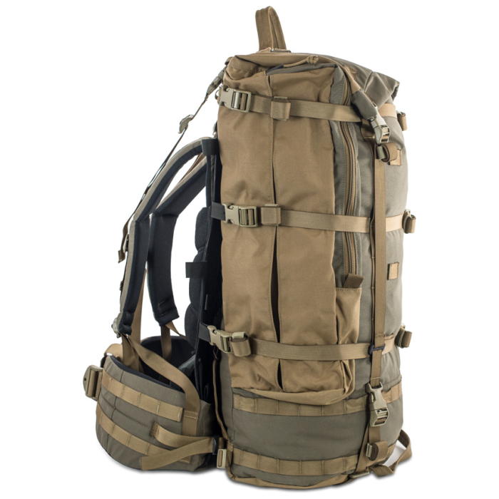 Cavern (6,500ci - 106L Bag only) Side Photo of Ranger Green Color with Frame Attached