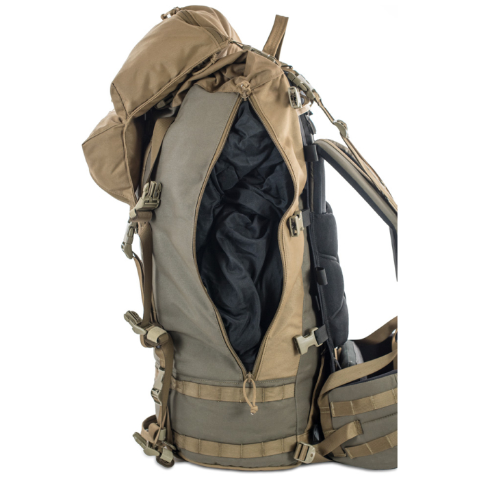 Cavern (6,500ci - 106L Bag only) Side View Photo of Ranger Green Color Open with Clothes Inside