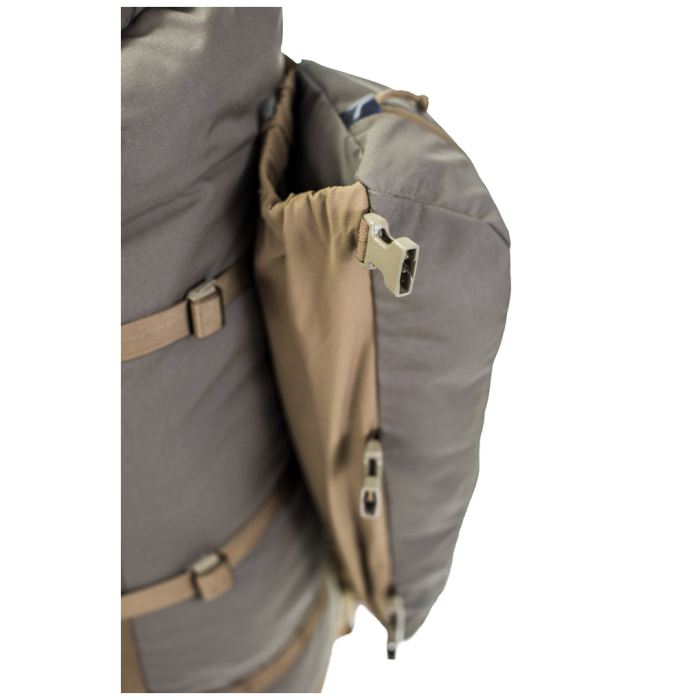 Kifaru International Fulcrum (29.5 Liters - 128 Liters Bag Only) Close Up Photo of Secondary Pouch Attached Sides
