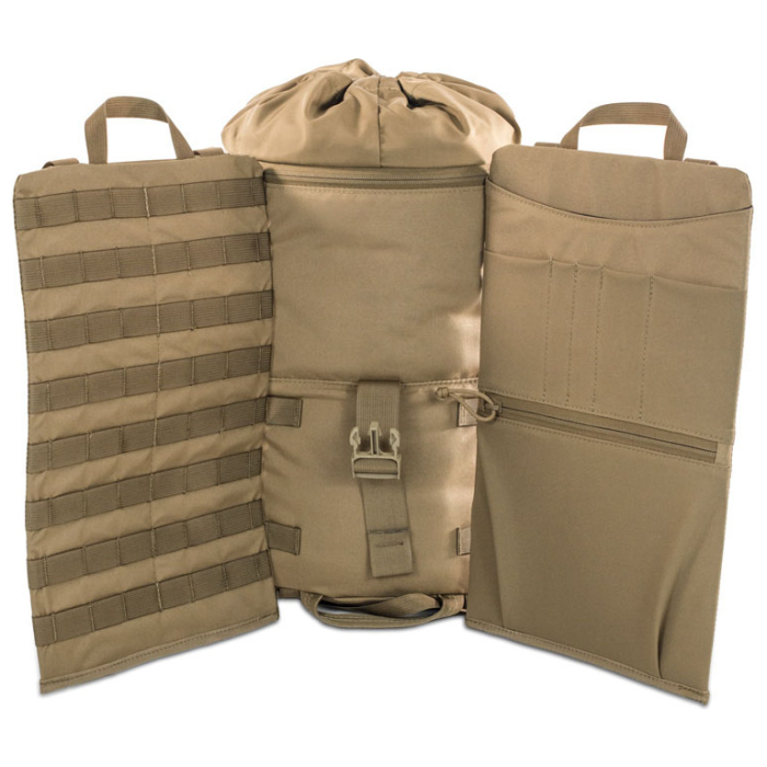Kifaru International Urban Ruck (1,400ci - 22.9L - 1,700ci - 27.8L) Diagonal Photo of Coyote Brown Color Pack with Sides Extended Out