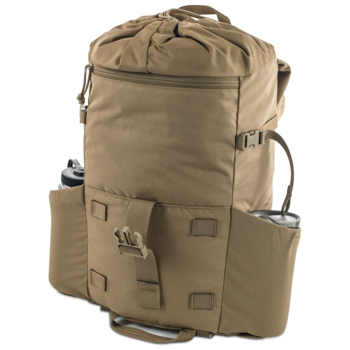 Kifaru International Urban Ruck (1,400ci - 22.9L - 1,700ci - 27.8L) Diagonal Photo of Coyote Brown Color Pack with Water Bottles on Side Pockets with Unstrapped Top