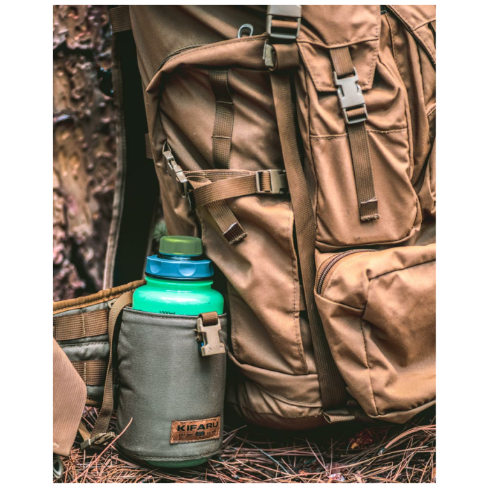 Water Bottle Pocket Diagonal Photo of Ranger Green Color Being Used with Backpack Outside