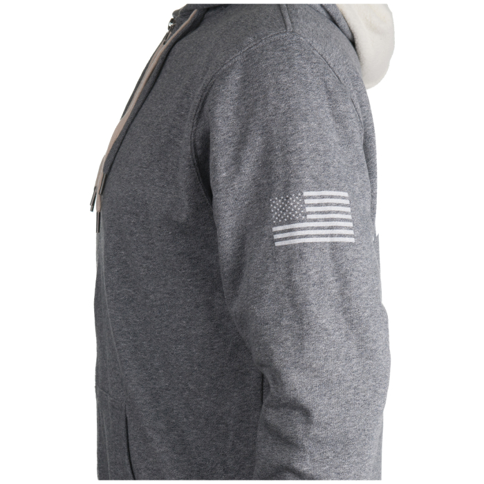 Gray Sherpa Lined Hoodie Side